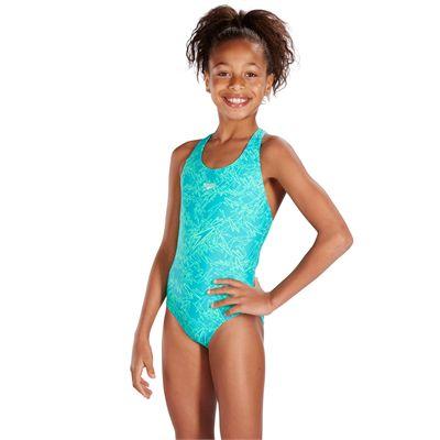 Speedo Boom Allover Splashback Girls Swimsuit-Mint-Side