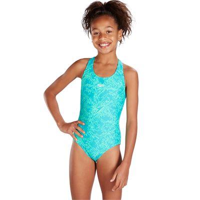 Speedo Boom Allover Splashback Girls Swimsuit-Mint