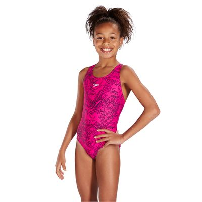 Speedo Boom Allover Splashback Girls Swimsuit-Pink-Side