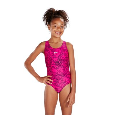Speedo Boom Allover Splashback Girls Swimsuit-Pink
