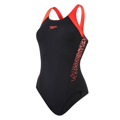 Speedo Boom Splice Muscleback Ladies Swimsuit-Black and Red