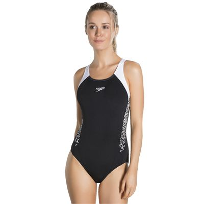 Speedo Boom Splice Muscleback Ladies Swimsuit-Black and White 1
