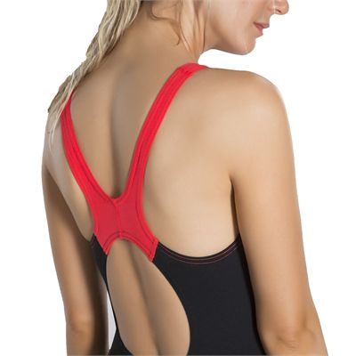 Speedo Boom Splice Muscleback Ladies Swimsuit - Black - BackZoomed