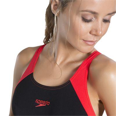 Speedo Boom Splice Muscleback Ladies Swimsuit - Black - Zoomed