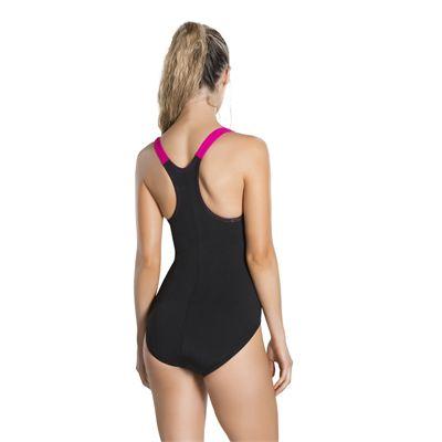 Speedo Boom Splice Racerback Ladies Swimsuit - Black - Back