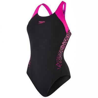 Speedo Boom Splice Racerback Ladies Swimsuit - Black - Main