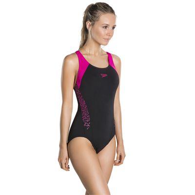 Speedo Boom Splice Racerback Ladies Swimsuit - Black - Side