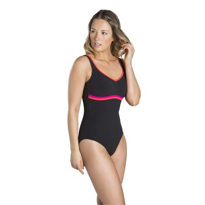 Speedo Contourluxe 1 Piece Ladies Swimsuit - Black/Red - Front