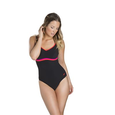 Speedo Contourluxe 1 Piece Ladies Swimsuit Black/Red - Fromt
