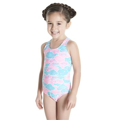 Speedo Cosmic Cloud Essential All Over Infant Girls Swimsuit - Angled