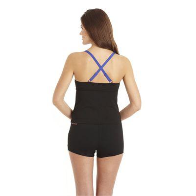 Speedo Crystalflow 2 Piece Tankini Boyleg Ladies Swimsuit Black Blue 3