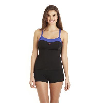 Speedo Crystalflow 2 Piece Tankini Boyleg Ladies Swimsuit Black Blue