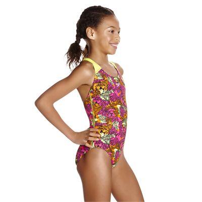 Speedo Electric Ball Allover Splashback Girls Swimsuit - Angled