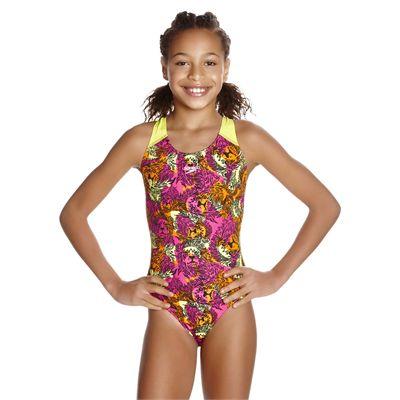 Speedo Electric Ball Allover Splashback Girls Swimsuit - Front