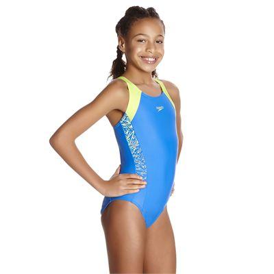 Speedo Endurance 10 Boom Splice Muscleback Girls Swimsuit - Angled