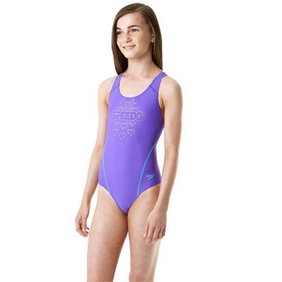Speedo Endurance 10 Logo Splashback Girls Swimsuit - Side