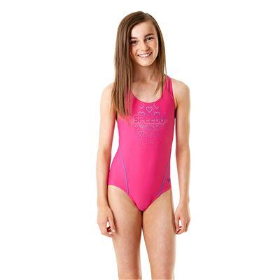 Speedo Endurance 10 Logo Splashback Girls Swimsuit - Front View