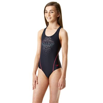 Speedo Endurance 10 Logo Splashback Girls Swimsuit - Navy/Pink - Side