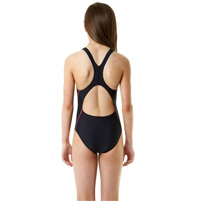 Speedo Endurance 10 Logo Splashback Girls Swimsuit - Navy/Pink -  Back