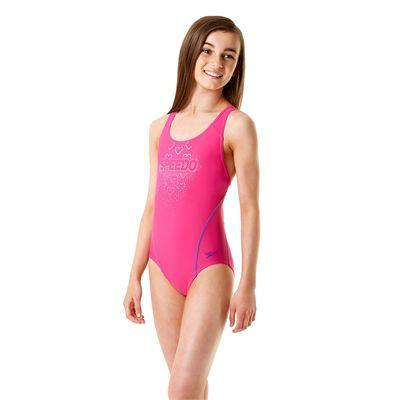 Speedo Endurance 10 Logo Splashback Girls Swimsuit - Side View
