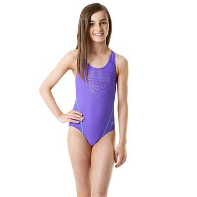 Speedo Endurance 10 Logo Splashback Girls Swimsuit Purple/Blue