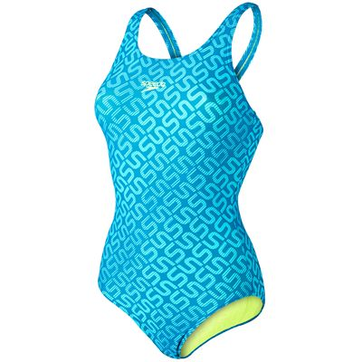 Speedo Monogram Allover Muscleback Ladies Swimsuit-Blue and Yellow