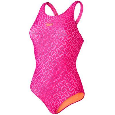 Speedo Monogram Allover Muscleback Ladies Swimsuit-Pink