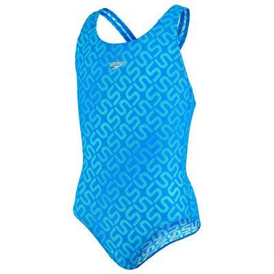 Speedo Monogram Allover Splashback Girls Swimsuit-Blue
