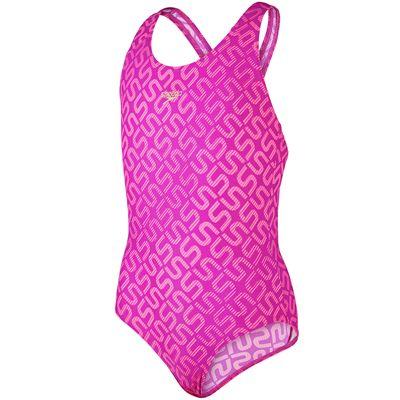 Speedo Monogram Allover Splashback Girls Swimsuit-Pink