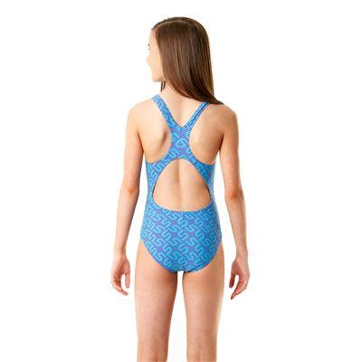 Speedo Endurance 10 Monogram Allover Splashback Girls Swimsuit SS14-Purple and Blue-Back View