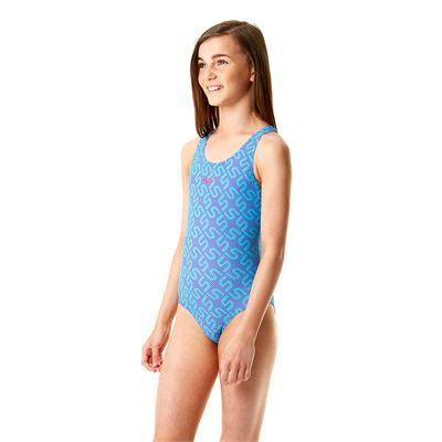 Speedo Endurance 10 Monogram Allover Splashback Girls Swimsuit SS14-Purple and Blue-Side View