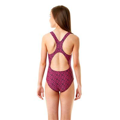 Speedo Endurance 10 Monogram Allover Splashback Girls Swimsuit SS14 - Back View
