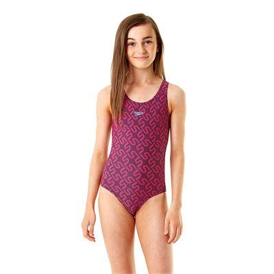 Speedo Endurance 10 Monogram Allover Splashback Girls Swimsuit SS14 - Front View