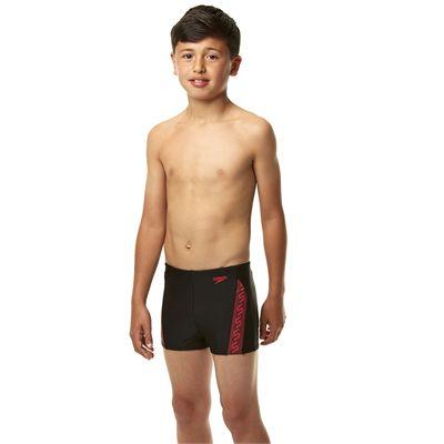 Speedo Endurance 10 Monogram Boys Aquashorts SS14 - Black/Pink - Side