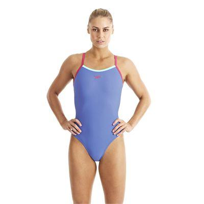 Speedo Endurance 10 PowerFlash Thin Strap Muscleback Ladies Swimsuit blue