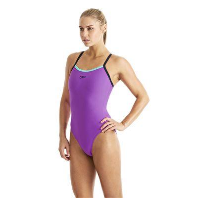 Speedo Endurance 10 PowerFlash Thin Strap Muscleback Ladies Swimsuit purple 1