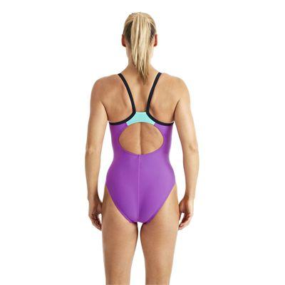 Speedo Endurance 10 PowerFlash Thin Strap Muscleback Ladies Swimsuit purple 2