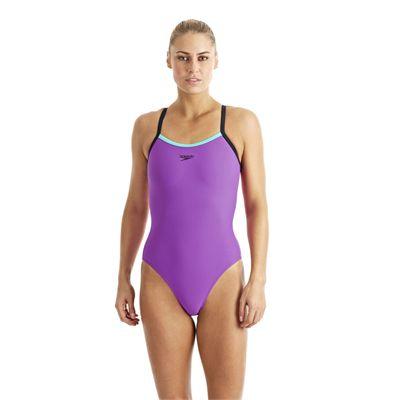 Speedo Endurance 10 PowerFlash Thin Strap Muscleback Ladies Swimsuit purple