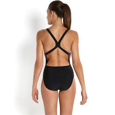 Speedo Endurance 10 Samba Blend Placement Powerback Ladies Swimsuit-Back