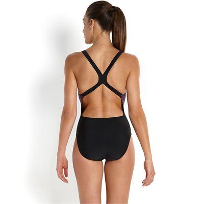 Speedo Endurance 10 Samba Blend Placement Powerback Ladies Swimsuit-Back