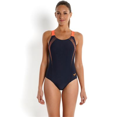 Speedo Endurance 10 Sports Logo Medalist Ladies Swimsuit-Front