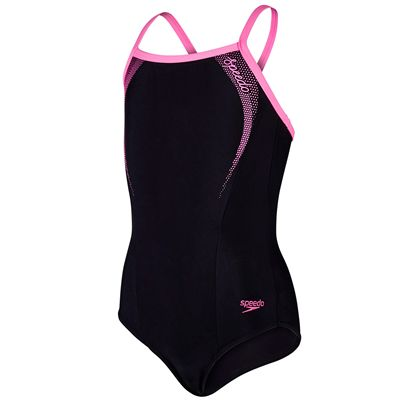Speedo Sports Logo Thinstrap Girls Muscleback-Black and Pink