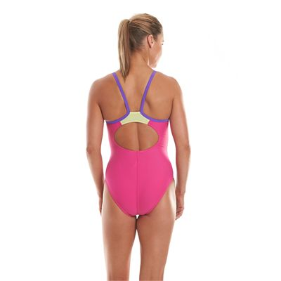 Speedo Endurance 10 Thinstrap Muscleback Ladies Swimsuit-Pink and Purple-Back View