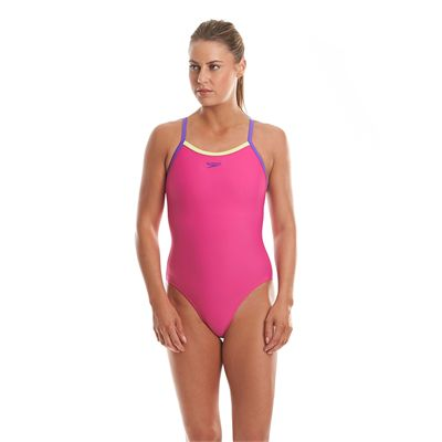 Speedo Endurance 10 Thinstrap Muscleback Ladies Swimsuit-Pink and Purple-Front View