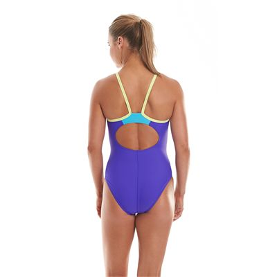 Speedo Endurance 10 Thinstrap Muscleback Ladies Swimsuit-Purple and Green-Back View