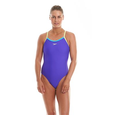 Speedo Endurance 10 Thinstrap Muscleback Ladies Swimsuit-Purple and Green-Front View