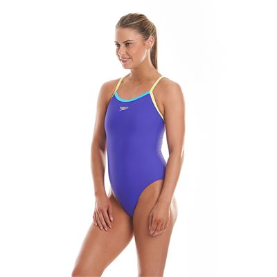 Speedo Endurance 10 Thinstrap Muscleback Ladies Swimsuit-Purple and Green-Side View