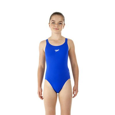 Speedo Endurance Medalist Girls Swim Suit-blue-a