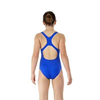 Speedo Endurance Medalist Girls Swim Suit-blue-c