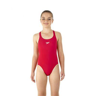 Speedo Endurance Medalist Girls Swim Suit-red-a